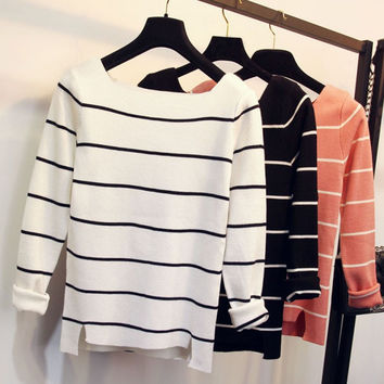 Stripes Knit Cotton Split Sweater Bottoming Shirt [8216403329]