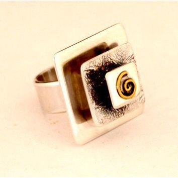 Square Recycled Silver and Gold Ring made to order by aboutjewelry