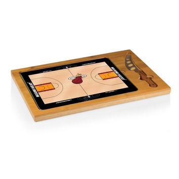 Miami Heat - 'Icon' Glass Top Serving Tray & Knife Set by Picnic Time (Basketball Design)