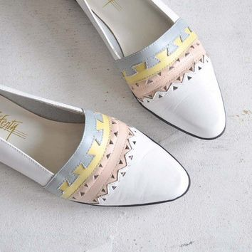 Vintage GEOMETRIC Pastel Leather Flats 75 by MariesVintage on Etsy