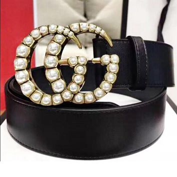 GUCCI Trending Women Men Personality Smooth Buckle Leather Belt +Gift Box Black I/A
