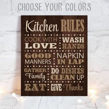 KITCHEN RULES Wall Art, Dining Room Decor, Canvas or Print, Kitchen Rules, Cooking Quotes, Kitchen Wedding Gift, Chef Sign, Single 1