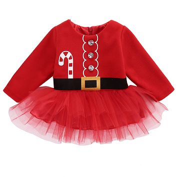 Cute Christmas Baby Dress Princess Toddler Baby Girl Long sleeve Tulle Tutu Dress Party Outfits Costume