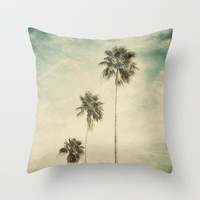 Pillow Cover, Coconut Palms Trees Tropical Decor Throw Pillow, Palm Green Beach Bungalow Bed Couch Surf Accent Interiors, 16x16 18x18 20x20