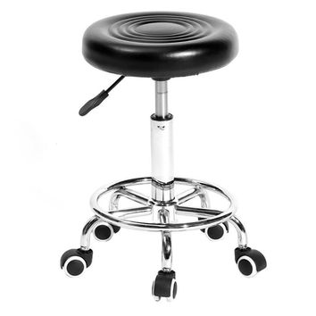 Adjustable Work Rotating Round Chair 5 Rolls Leather Lift Bar Swivel Stool for Home Office Rotating Round Chair