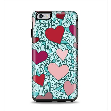 The Sharded Hearts On Teal Apple iPhone 6 Plus Otterbox Symmetry Case Skin Set