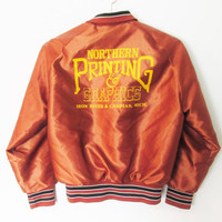 Vintage Satin Sherry Iron River & Caspain Michigan Baseball Jacket