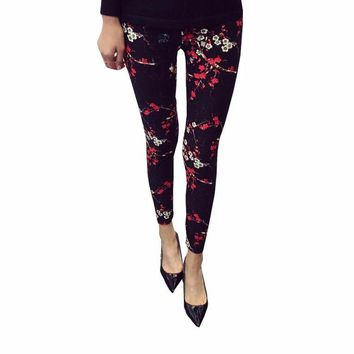 Flower print Guitar Plaid Thin Nine Fashion Leggings