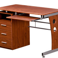 Techni Mobili Computer Desk with Storage - Chocolate or Mahogany