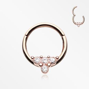 Rose Gold Eres Sparkles Seamless Clicker Hoop Ring