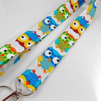 Owl Lanyard Bird Lanyard Teacher Lanyard Wise Owls Owl Key Holder Owl Key Ring Owl Keychain Bird Key Ring Owl ID Badge Holder