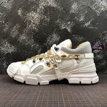 Gucci Flashtrek Leather Sneaker With Crystals White - Best Online Sale
