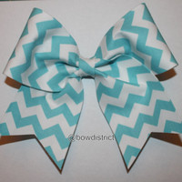 3 Light Blue and White Chevron Cheer Bow by BowDistrict on Etsy