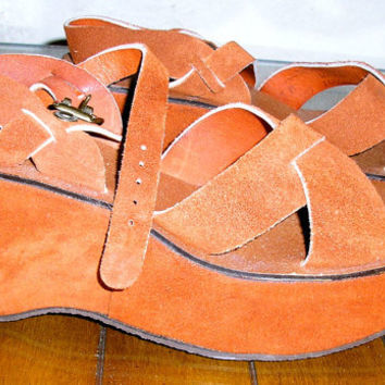 70s NOS never worn copper suede platform sandals shoes 7M