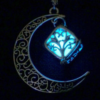 Glow in the dark necklace, Crescent Moon, Galaxy Pendant, Tree of Life, Glow in the dark jewelry, Ladies Necklace, Womens Necklace