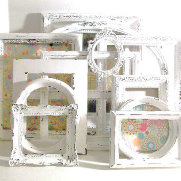 13 Shabby Chic Chippy White Picture Frames
