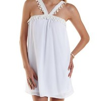 White Crochet-Trim Crossover Shift Dress by Charlotte Russe