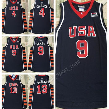 Athens Olympic Team 2004 USA Basketball Jerseys Dream 6 SIX 23 LeBron James 21 Tim Duncan Jersey 4 Allen Iverson Sports Navy Blue