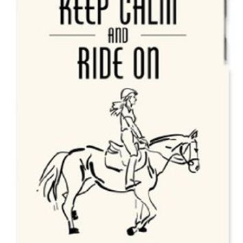 Horse Pony Equestrian Keep Calm And Ride On Apple ipod 5 Ipod 5g Quality Hard Case Snap On Skin for ipod Gen 5 and 5, 5G (WHITE CASE)