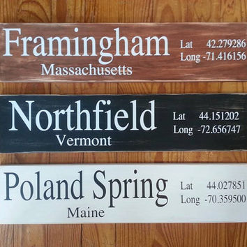 Town, Latitude, Longitude, Lat, Long, Destination, Location Sign, Wedding Gift, Shower, Housewarming Gift, Destination, Simply Fontastic
