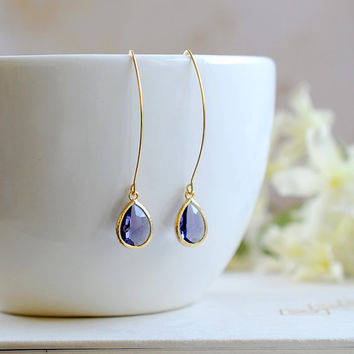 Amethyst Purple Drop Earrings, Gold Plated Amethyst Teardrop Long dangle Earrings, Bridal Jewelry, Bridesmaid Gift, Wedding Bridal Accessory