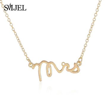 SMJEL Chic Silver Mrs Wedding Necklace Tiny Love Alphabet Letter Necklace Simple Word Initial Necklaces Collier Accessories Gift