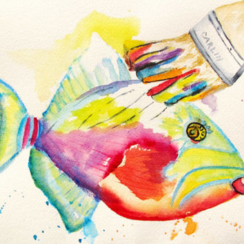 Original Watercolor Painting - Colorful Fish Abstract - 8x10 - Funny - Whimsical - Children's Room - Nursery