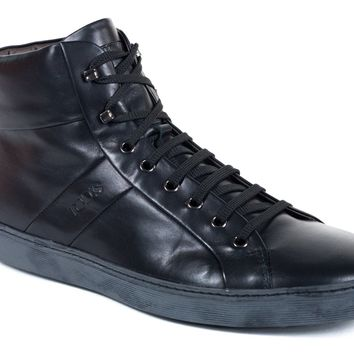 Tod's Mens Black Allacciato Leather High Top Sneakers