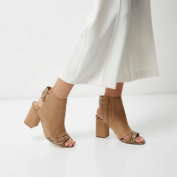 Nude print panel wide fit shoe boots - sandals - shoes / boots - women