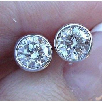 Luxinelle 1 Carat Bezel Diamond White Gold Stud Earrings 14K Round Solitaire 69c15a02c3