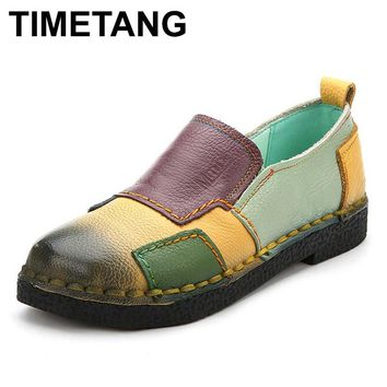 TIMETANG Handmade vintage women's shoes genuine leather female moccasins loafers soft slip-resistant block casual shoes flats