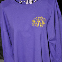 Monogrammed Long Sleeve T Shirt OR Short Sleeve Personalized T-shirt Embroidered Tee Long OR Short Sleeve Monogrammed T-Shirt