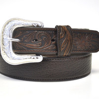 Nocona Men's Western Bullhide Belt-Brown