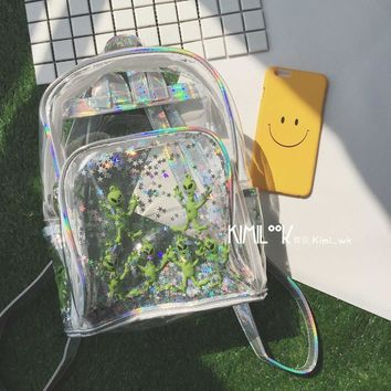 Transparent Holographic Backpack Women School Backpacks For Teenage Girls Fashion Travel Rucksack Printing Backpack Teenage