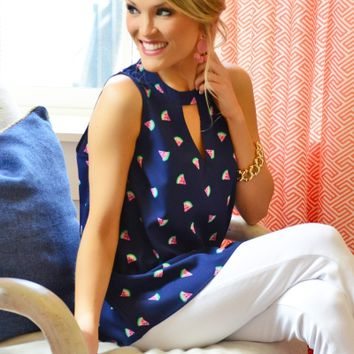 Beverly Swing Top, Navy Melon