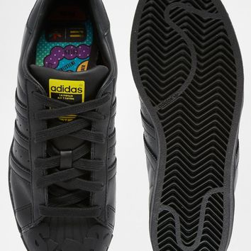 adidas Originals Pharrell Williams X Todd James Black Leather Supershell Superstar Sneakers