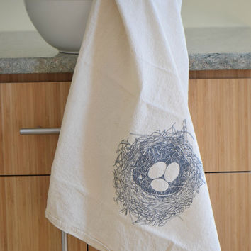 Nest Tea Towel, Bird Nest Flour Sack Towel, Kitchen Towels, Cotton Dishcloth, Cotton Tea Towels, Natural Dish Towel, Woodland Kitchen Towel