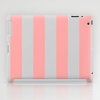 Stripe Vertical Gray Coral Pink iPad Case by BeautifulHomes | Society6