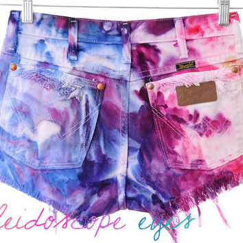 Vintage Wrangler COLORFUL Marbled Dyed Denim High Waist Cut off Shorts S M