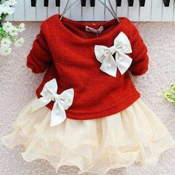 Hot Baby Girls Autumn Spring Long Sleeve Knitted With Bow Infants Newborn Pink Tutu Princess Dress