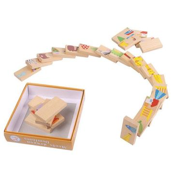 DCCKL72 28 PCS Animal Domino Puzzles Toys Baby Kids Early Creativity Developing Wooden Puzzles High Quality Children Educational Toys