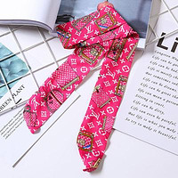 LV tide brand female letter printing multi-purpose small scarf Rose red
