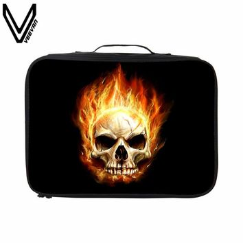 VEEVANV 2017 New Punk Skull Music Travel Bags For Men Casual Travel Luggage Street Style   Waterproof Zipper Travel Totes
