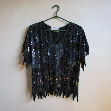 70s Dominique Glass Bead Top Black Silk Disco Sequin 1970s Flashy Dance Blouse Lrg