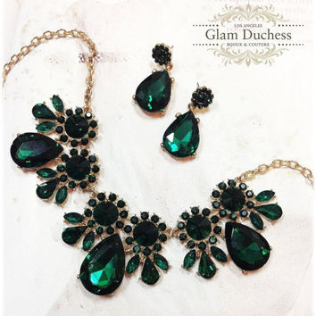 Wedding jewelry set , bridal crystal jewelry, Vintage inspired necklace earrings, Emerald green jewely, Golden jewelry, bridesmaid jewelry
