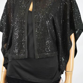 Alfani Women's Black Sequined Cardigan Shrug X-Small XS