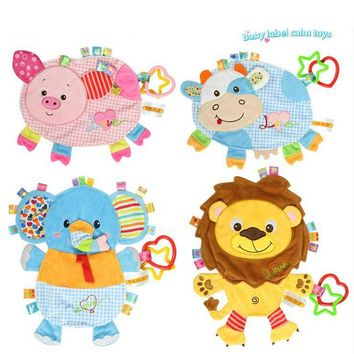 TOP 27cm Safety Baby Infant Preferred Soft Appease Towel Toys Calm Doll Cute Pig Cow Lion Teether Developmental Crib Stroller