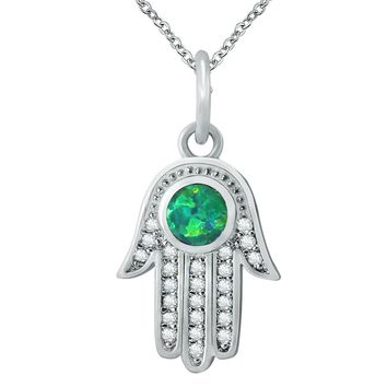 Opal Hamsa Necklace For Women Fire Opal Hand Fatima Palm Pendant Necklace 925 Silver Jewelry Zirconia Choker Hand of Fatima