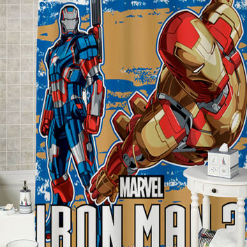 Iron Man and Iron Patriot  special shower curtains that will make your bathroom adorable.