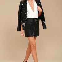 Free People Feelin' Fresh Black Vegan Leather Mini Skirt